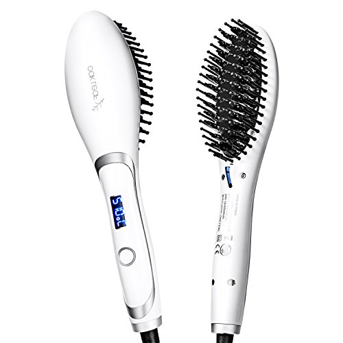 Hair Straightening Brush, Oak Leaf 2-in-1 Ceramic Heating Iron Hair Detangling Straightener Brush Electric Comb, Anti-Scald, White (Ceramic Base Leaves)