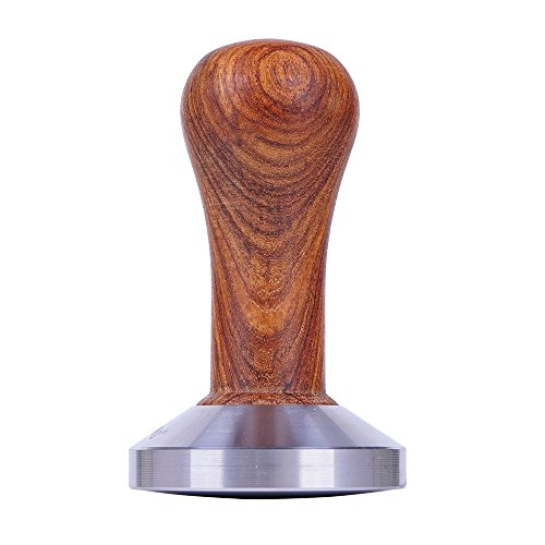 L-BEANS Stainless Steel Ground Coffee Tamper with Rosewood Handle, 58mm base (With radian)