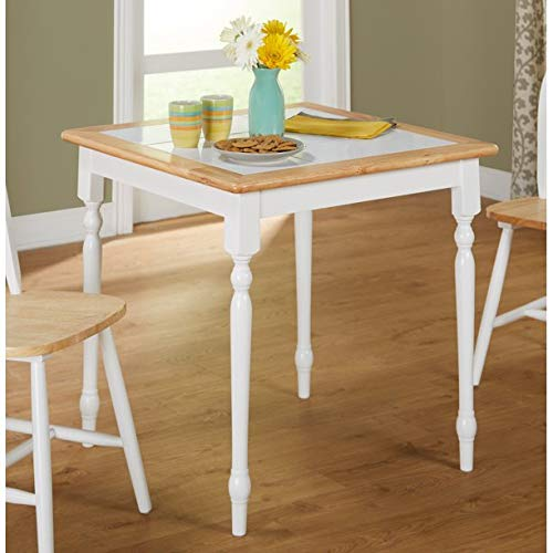 Charming Dining Table, Seats 2 People Comfortably, Sturdy and Long Lasting Solid Wood Construction, Casual Style, Tile Top, Wood Frame with Tile Table Top, Eco-Friendly, White/Natural Finish