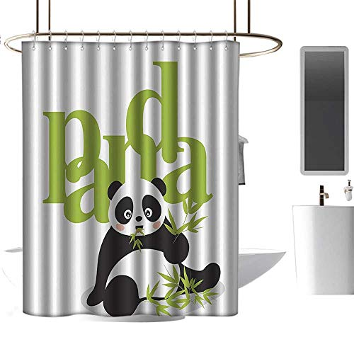 shower curtains black and silver Animal Decor Collection,Panda Eating Bamboo Asian Natural Environment Endangered Species Cartoon Art,Green Black White ,W72
