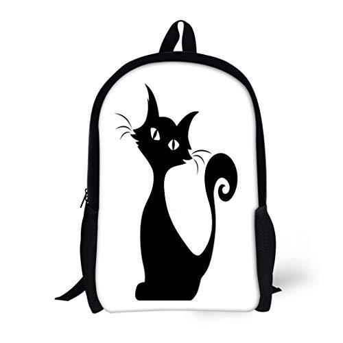 Pinbeam Backpack Travel Daypack Halloween Black Silhouette of Sitting Cat Tail Outline Waterproof School -