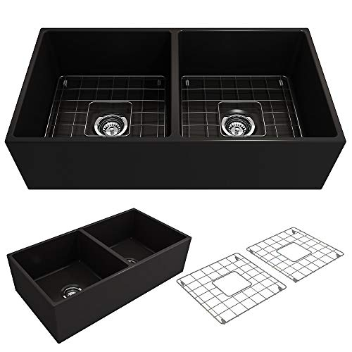 Black Fireclay Double Bowl - BOCCHI 1350-005-0120 Contempo Apron Front Fireclay 36 in. Double Bowl Kitchen Sink with Protective Bottom Grid and Strainer in Black,