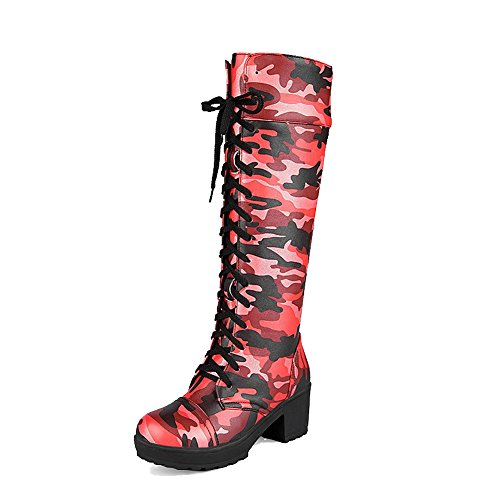 VogueZone009 Damen Gemischte Farbe Mittler Absatz Rund Zehe PU Leder Schnüren Stiefel, Rot, 34