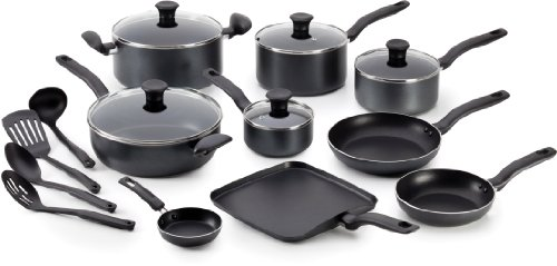 T-fal A821SI Initiatives Nonstick Inside and Out Dishwasher Safe Oven Safe Cookware Set, 18-Piece, Charcoal