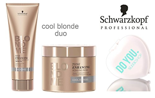 Schwarzkopf Pro Blond Me COOL BLONDES Toning Enhancing Bonding Shampoo 8.4 oz & Mask 6.7 oz (with Sleek Compact Mirror) (Cool Blonde - DUO SET)