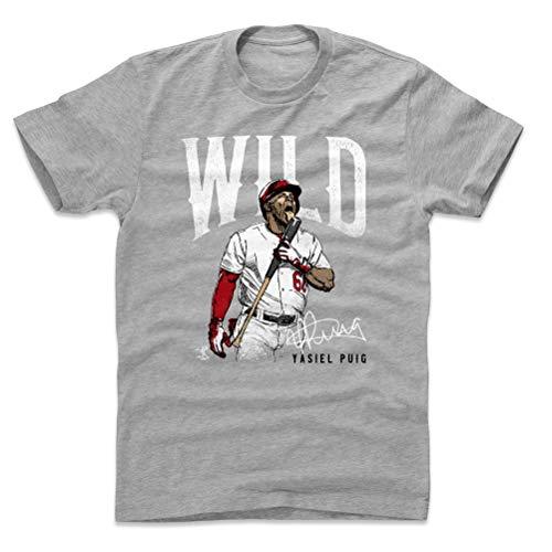 500 LEVEL Yasiel Puig Cotton Shirt (Large, Heather Gray) - Cincinnati Reds Men's Apparel - Yasiel Puig Wild W WHT
