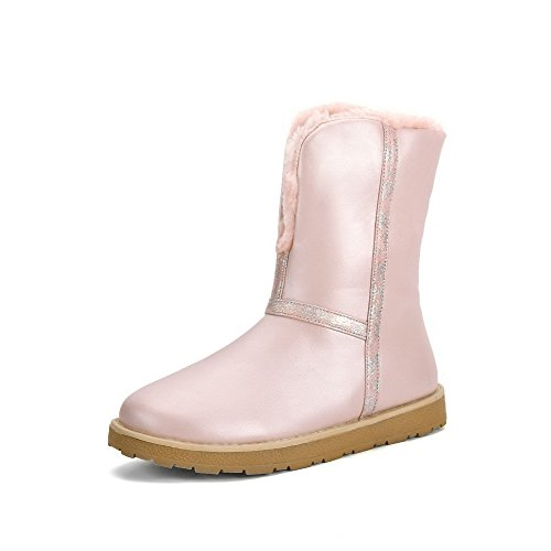 AgooLar Women's Pull-On Round Closed Toe Low-Heels PU Low-Top Boots Pink