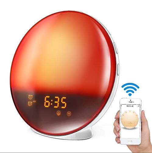 LATME Sunrise Alarm Clock Wake Up Light Works with Alexa Google Home with Colored Sunrise Simulation and Sunset Fading Night Light for bedrooms,FM Radio,4 Alarm 12 Times Snooze Function (White-Smart)