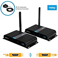 gofanco Wireless 1080P HDMI Wireless Extender Kit - 165ft (50m) - 1080p - Wi-Fi Antenna extension Included - IR remote control - Compatible with HDMI 1.3 and HDCP 1.2