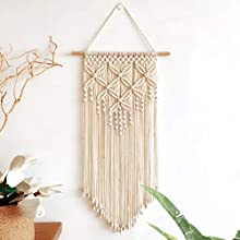Jolitac Macrame Wall Hanging Ivory Woven Decor 15.8 x 42 Inches, Modern Bohemian Wall Art Tapestry Decor for House, Wedding, Party Decorations (Style D)