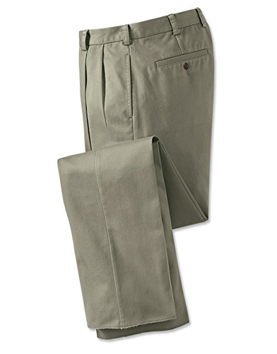 Orvis Wrinkle-free Pure Cotton Chinos - Pleated Front / Wrinkle-free Pure Cotton Chino, Olive, Cuffed, 35W X 29L (Pleated Front Chino)