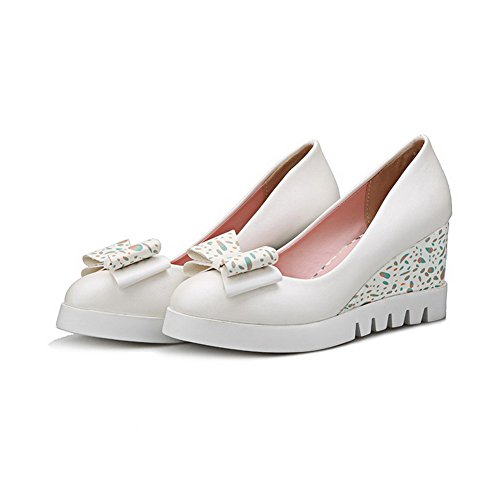 VogueZone009 Women's Pull-On PU Round Closed Toe High-Heels Solid Pumps-Shoes White VGiM5P2EL