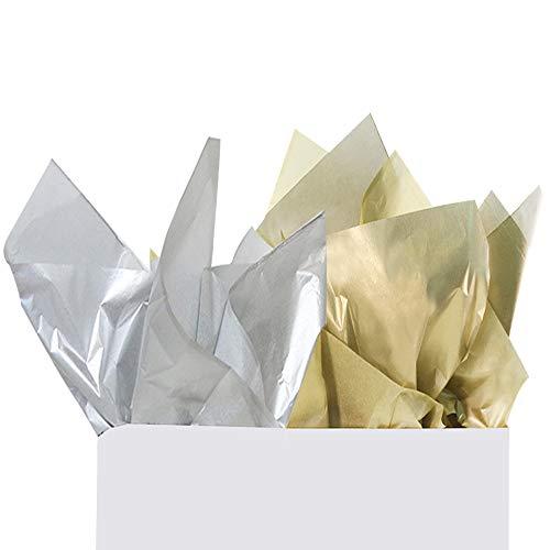 - UNIQOOO 30 Sheets Premium Metallic Gold & 30 Sheets Metallic Silver Tissue Paper Gift Wrap Paper Bulk,20