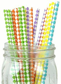 Just-Artifacts-Decorative-Paper-Straws-100pcs-Harlequin