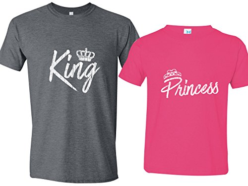 [Matching Father Daughter, Princess Shirt, Gray Mens Lg & Pink Youth Lg 14-16] (Princess Outfit Ideas)