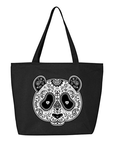 (Shop4Ever Skull Panda Heavy Canvas Tote with Zipper Day of the Dead Reusable Shopping Bag 12 oz Black 3 Pack)