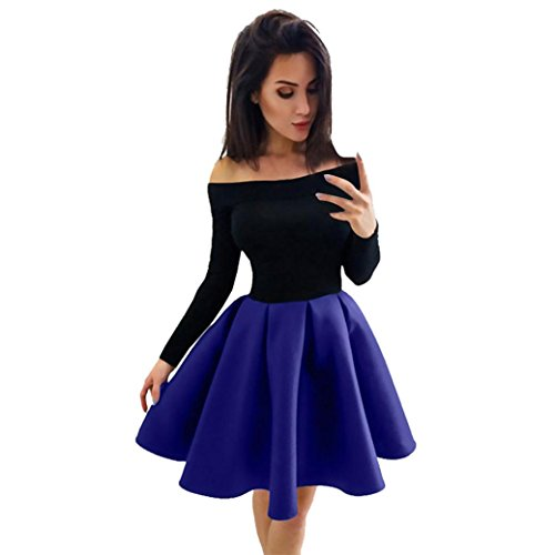 Kangma Fashion Women Long Sleeve Off The Shoulder Evening Party Ball Gown Dress
