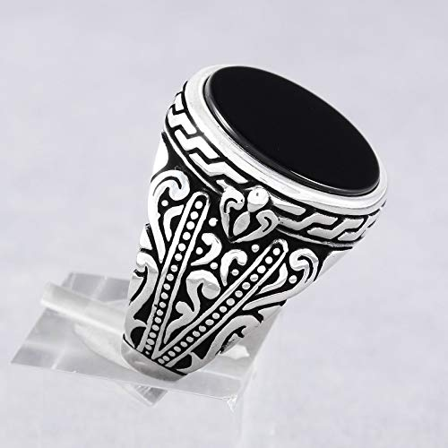 (Mens Silver Rings with Round Black Onyx Stone in 925 Sterling Men's Statement Ring Size 8 Turkish Handmade Gift for Him)
