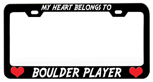 Crysss License Plate Frame Funny Humor, Chrome Aluminum Metal License Plate Cover, License Tag Holder with Screw Caps for US Standard - My Heart Belongs to Boulder Player (1)