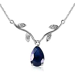 1.52 CTW 14k Solid White Gold Drop Necklace with Genuine Diamonds and Pear-shaped Natural Sapphire