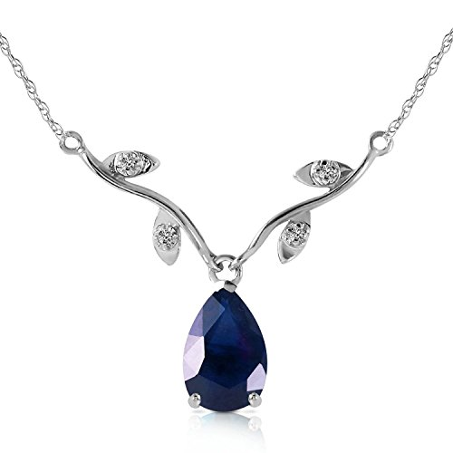 Sapphire Diamond Drop Necklace - Galaxy Gold 1.52 CTW 14k 16