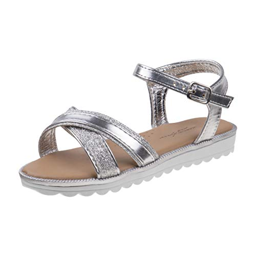 Nanette Lepore Girls Criss Cross Strap Summer Sandals, Silver/White, 11 M US Little Kid'