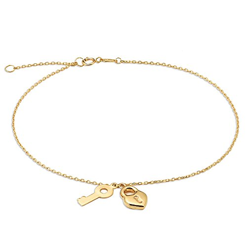 10k Gold Key - LOVEBLING 10K Yellow Gold .50mm Diamond Cut Rolo Chain with a Lock and Key Pendants Anklet Adjustable 9