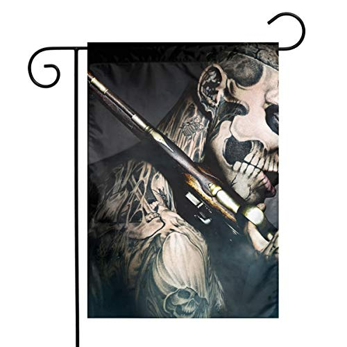 MINIOZE Halloween Voodoo Gun Skull Mask Themed Welcome Mailbox Small Jumbo for Outdoor Decorations Ornament Picks Garden House Home Yard Traditional Decorative Front -