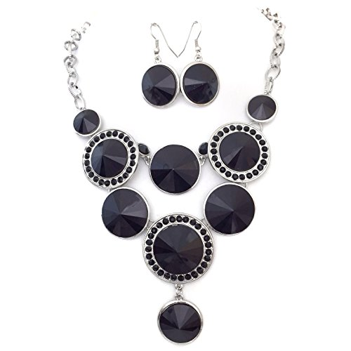 (Black and Rhinestone Bling Statement Circles Boutique Silver Tone Necklace Earrings)