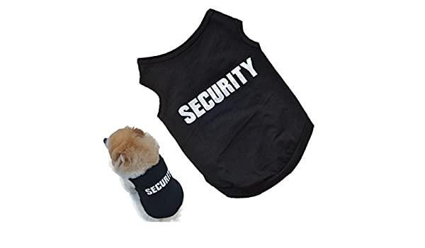 Amazon.com : 2017 Newly Design SECURITY Black Dog Vest Summer Pets Dogs Cotton Clothes Shirts Apparel Sleeveless Ropa para perros (S) : Pet Supplies