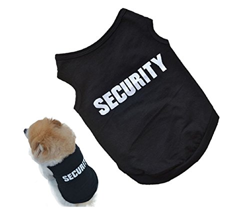 2 pcs/lot 2016 Newly Design SECURITY Black Dog Vest Summer Pets Dogs Cotton Clothes Shirts Apparel Sleeveless Ropa para perros (L) (Dad Narutos)