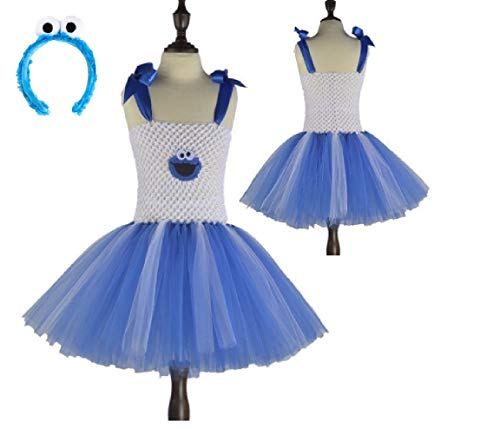 White/Blue Sesame Cookie Lover Monster Costume Tutu Dress from Chunks of Charm (24 Months)]()
