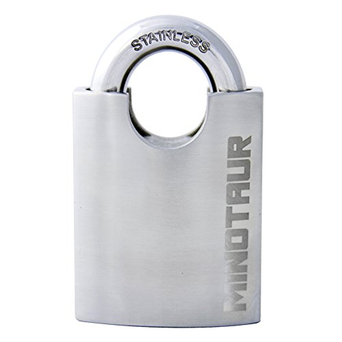 (Minotaur High Security Stainless Steel Disk Detainer Padlock with Thick Shrouded Shackle )