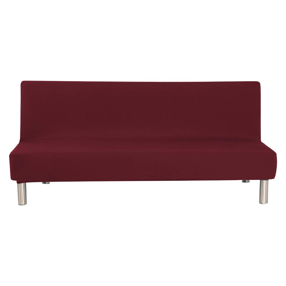 WATTA Solid color Futon Cover Slipcover Couch, Polyester Spandex stretch Bed Cover Replacement,Futon Mattress Cover, Futon mattress protector - Wine Red - 51'' x 82'' x 12''
