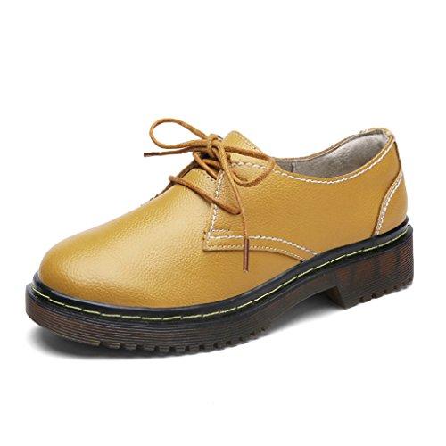 HWF Zapatos para mujer Zapatos de primavera Martin Zapatos de cuero de mujer casual estilo británico Zapatos universales ( Color : Beige , Tamaño : 40 ) Amarillo