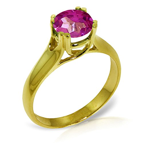ALARRI 1.1 Carat 14K Solid Gold Love Doesn't Outgrow Pink Topaz Ring With Ring Size 9.5 by ALARRI (Image #3)'