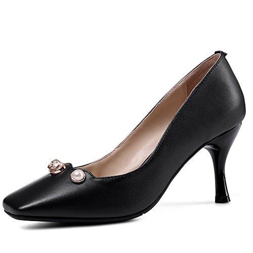 Nine Seven Cuero Puntera Cuadrada Tacones de Vestir de Tacón Aguja con Perlas para Mujer negro