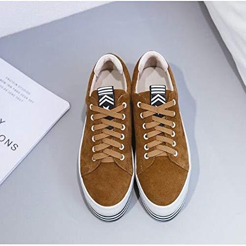 Leather Suede verano Zapatos marrón Creepers nappa Negro Zhznvx Dedo Sneakers Brown Comfort Primavera Cerrado De Mujer wSdXxtnqt0