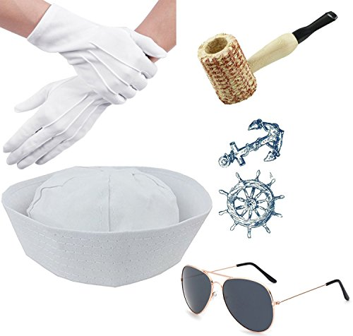 Sailor Yacht Captain Hat Costume Accessory Corn Cob Pipe Aviator Sunglasses