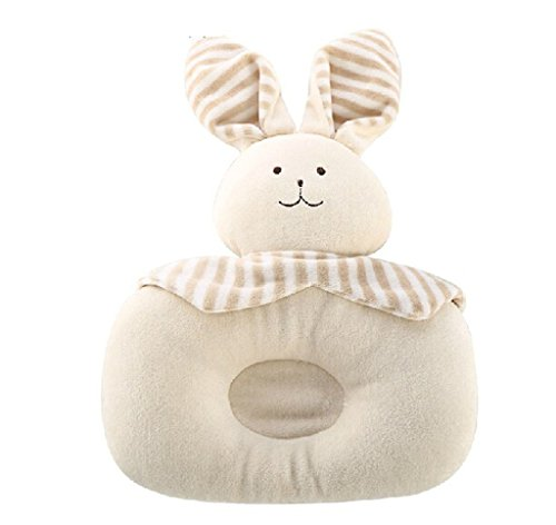 Cute Soft Cotton Animal Shape Prevent Flat Head Support Sleeping Pillow For Newborn Baby Infant Toddle (Rabbit)