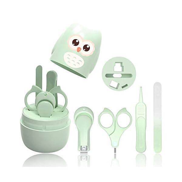 Set Manicure Neonati| Kit 4-in-1 per Baby, con Forbicine, Tagliaunghie, Lima e Pinzetta in Custodia con Gufo | Sicuro… 1