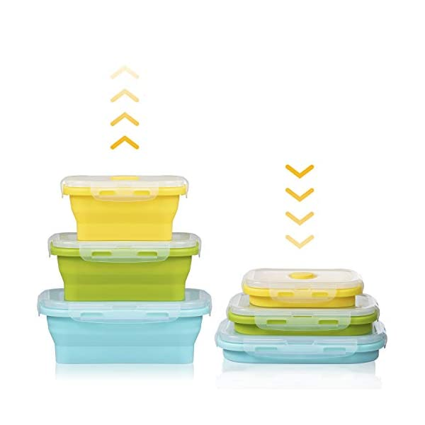 41R5rZK 3ML Czemo Faltbare Frischhaltedosen Silikon Zusammenklappbaren Container, Bento Lunchboxen, Faltbare Brotbox, Camping…