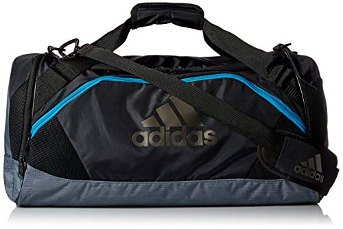 - adidas Team Issue Medium Duffel Bag, Night Grey/Grey Two Tone/Shock Cyan, One Size