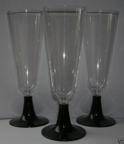 30 x PLASTIC CHAMPAGNE GLASSES FLUTES Black Stems - Perfect for a Party gsl