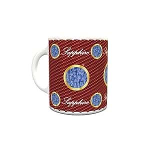 White Ceramic Coffee Mug with Birthstone Sapphire Design