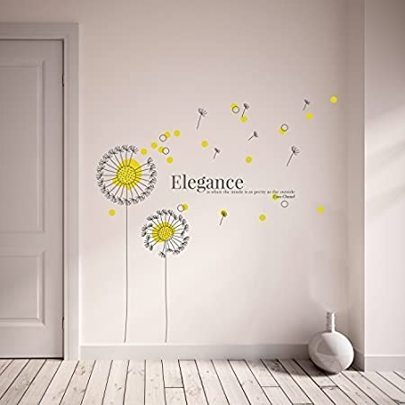 Wallflexi Wall Stickers Yellow Dandelion Wall Art Murals Removable  Self Adhesive Decals Nursery Kindergarden Kids