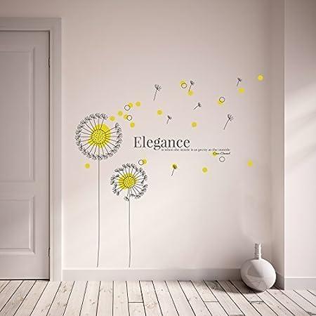 Wallflexi Wall Stickers Yellow Dandelion Wall Art Murals Removable  Self Adhesive Decals Nursery Kindergarden Kids