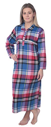 J# Women's Full Length Brushed Cotton Flannel Plaid Nightgown WF02_Y19 Royal/Red 1X
