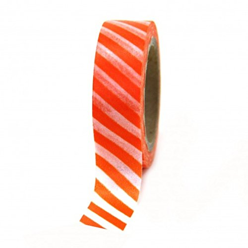 Dress My Cupcake Washi Paper Tape, Striped, Orange