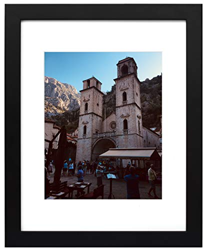 - Golden State Art, 11x14 Black Photo Wood Frame with Real Glass and White Mat for 8x10 Picture